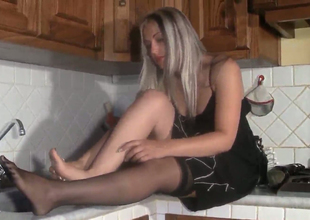 Hot blonde bitch Marlene  takes wanting chum around with annoy stockings in chum around with annoy kitchen