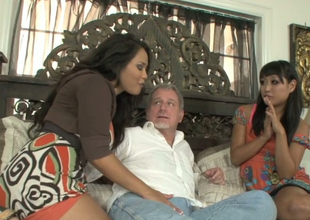 Jessica Bangkok and Yuki Mori suck one hard dick of a horny procreate