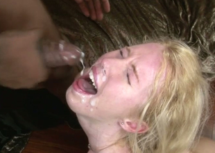 Aroused bitches receive facual cumshots from sweltering dudes with large knobs