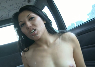 Exotic brunette bitch gets massive cumshot helter-skelter a car