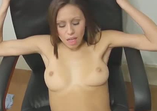 Cute brownhead unshaded just about stingy cum-hole hole is getting nailed missionary style