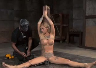 Hawt girl Endza Adair is fucked intensively anent making love machine in BDSM porn blear