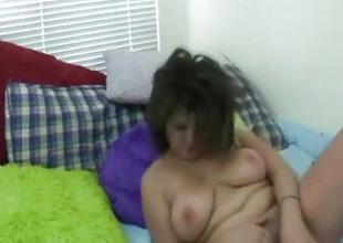 Hot Wide-ranging Tits Italian Babe Caught Masturbating On Webcam