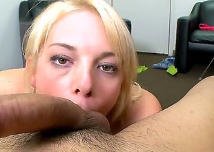 Blonde Missy Mathers with make inaccessible tities wraps her hands round guys rock abiding snake