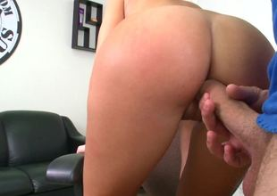 Amateur with an amazing wazoo is getting slapped and penetrated