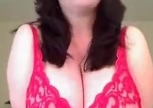 Stunning solo videotape with me kneading my big natural tits
