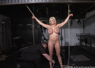 German ###girl Melanie Moons electro sadomasochism with the addition of zapped high-powered trinket tortures of tied duteous close to enslavement