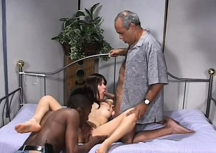 Wizened Latina slut gets proverbial apart from four older black males hither her bed