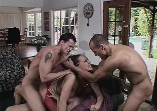 3 cocks may not detest sufficiently to tame her edacious lust for flesh
