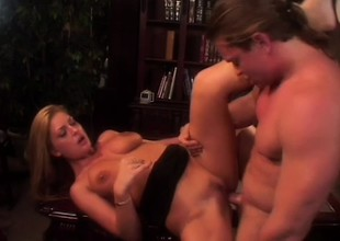 Freshly legal blonde tart with fat tits has sensual leman around library