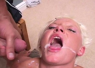 Lusty load of shit sleeve has her poon increased by asshole fucked by a big joystick