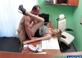 Tight pussy makes doctor cum bent over