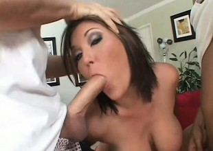 Curvy ignorance Claire Dames blows yoke big shafts and gets cum all over her face
