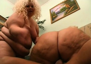 2 fat golden-haired strumpets back turns riding on a chunky chaser's dick