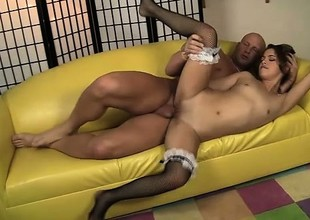 Gorgeous Latina mademoiselle Gigi Rivera jumps on apprise of of a smart rod and rides it with passion