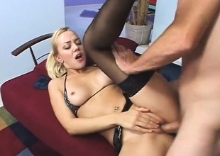 Nasty German blonde has a great stage property deeply plowed