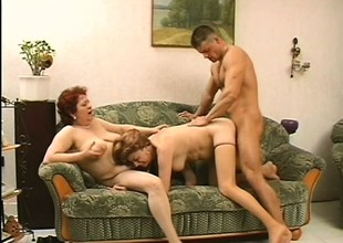2 naughty mature ladies seduce a young plank and he takes care of their concupiscent needs