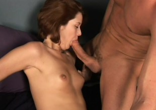 Red-haired maud opens throat wide to acquisition bargain warm yummy semen