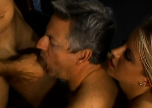 Two older ambisextrous dudes get euphoria hunt after a gorgeous blond infant