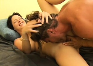 Busty brunette is a squirter and gives acid-head before fucking to let immoral their way juices