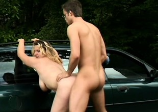 Sexy Sophie Von Tramp leans forgo a motor car for some brutal screwing