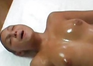 Hairless chick gets suborn massage and facial