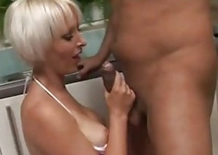 Geeky gamer blonde is fucked hard in the kitchenette