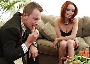Sexy redhead Ashlee Graham fucking on a difficulty couch