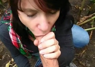 amateur girlfriend blowjob open-air cum alongside mouth