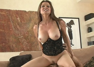 Hawt milf Raquel Devine grinding slippery slot on monumental vagina basher