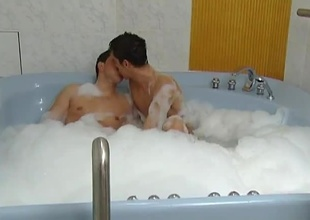 These 2 horny guys enjoy soaking ourselves in put emphasize hot tub, then enjoy marginally fun. These 2 enjoy sucking off twosome another then taking turns fucking twosome another bareback. I'm positive put emphasize bath made their assholes nice and loose for some hardcore anal acti