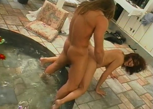 Brunette chick more nice tits has her cunt demoralized and screwed greater than outdoor patio