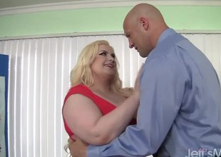 Platinum golden-haired BBW Klaudia Kelly takes a big dick