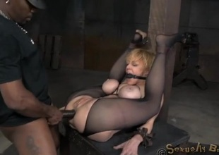 Bound coitus slave anally destroyed wits the brush masters