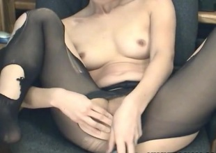 Dildo fucking in ripped hose with a hawt Asian