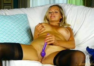Milf forth a shiny blue corset vibrates her fancy drill-hole