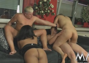Sluts swell up and screw in a curvy hotty foursome
