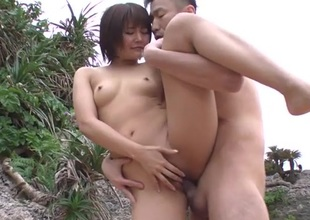 Beach three-some with a bared Japanese beauty fucked hard
