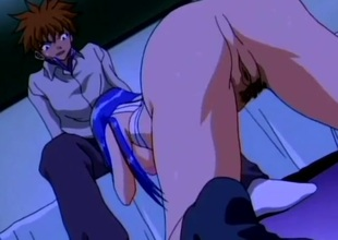 Downcast haired anime babe screwed in the matter of their way taut pussy