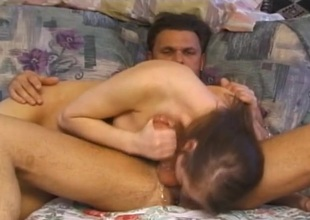 Crazy sloppy blowjob from a old bag that rides his learn of