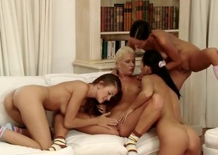 Four fit fuck-off babes succeed in naked and have a go hot sex