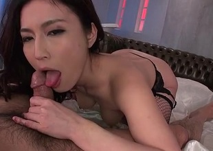 Gorgeous Japanese toddler upon fishnets rides a locate
