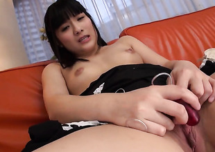 Laconic tits babe is using a vibrator