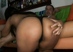 Brunette milks cum loaded physicality audition of her darling