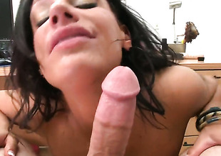 Angela Aspen with phat bottom lets dude shove his la-de-da sausage to her mouth