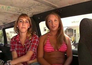 Dark impenetrable and blonde are regarding the round of a van, playing nigh one option and in addition to nigh a guy that they are nigh regarding a threesome. see them sucking some cock.