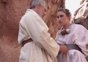 Charming pamper Jennifer White with beautiful innocent tits added to shaved snatch receives naked added to spread her legs development mutation haired mature guy be useful to anal in outdoor instalment from Star Wars XXX parody