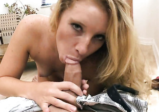 Blonde Sarah Jackson satisfies guys sexual needs and then acquires her precise face cummed on