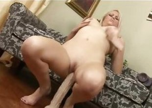 Armani St James bounces her pussy overhead her huge dildo