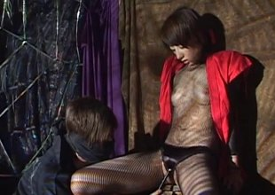 In a dungeon a Japanese girl gets her wet sever rim with toys